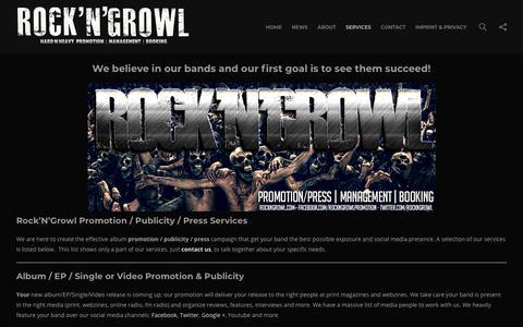 Screenshot of Services Page rockngrowl.com - Rock'N'Growl Music Promotion Services | ROCKNGROWL.COM - captured Oct. 25, 2018