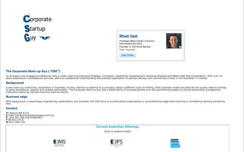 Screenshot of Home Page corporatestartupguy.com.au - Corporate start-up guy - main distributor - captured Sept. 30, 2014