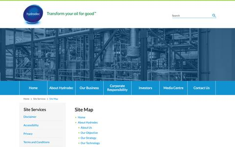 Screenshot of Site Map Page hydrodec.com - Site Map – Hydrodec Group plc - captured Sept. 30, 2018