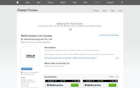 Screenshot of iOS App Page apple.com - MLM Contact List Creator on the App Store on iTunes - captured Nov. 3, 2014