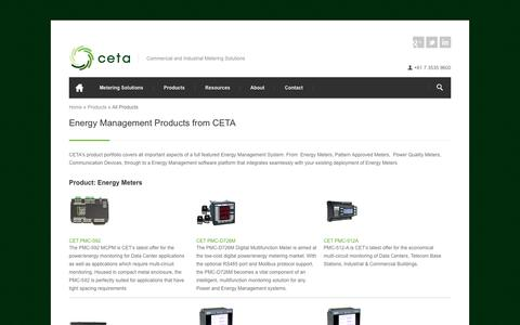 Screenshot of Products Page cetameter.com - Energy Management Products from CETA | CETA - captured Sept. 25, 2018