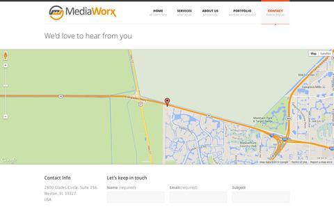 Screenshot of Contact Page themediaw.com - MediaWorx . creative design | interactive | web | video - captured Oct. 27, 2014