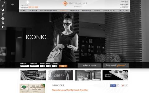 Screenshot of Services Page hotelarista.com - Naperville IL Luxury Hotel near Chicago - Hotel Arista - captured Sept. 30, 2014