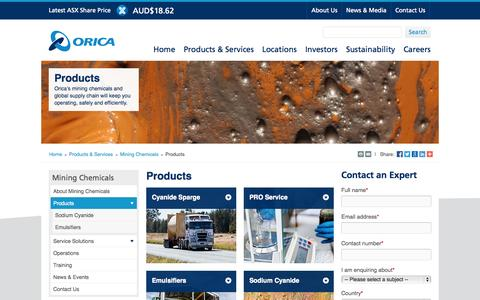 Screenshot of Products Page orica.com - Products - Mining Chemicals - captured Oct. 10, 2014