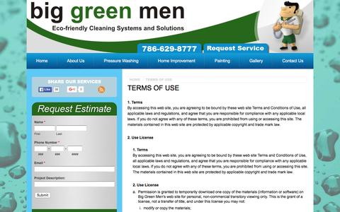 Screenshot of Terms Page biggreenmen.com - Terms of Use - Miami Area Pressure Washing - captured Jan. 3, 2016