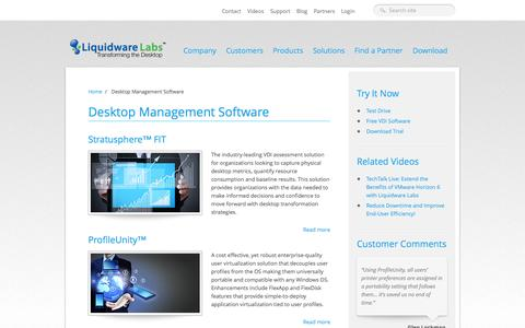 Screenshot of Products Page liquidwarelabs.com - Desktop Management Software | Liquidware Labs - captured Sept. 23, 2014