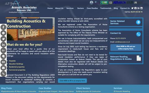 Screenshot of Developers Page soundinsulationtests.co.uk - Acoustic Services | Building Acoustics & Construction Client Sector | Acoustic Associates Sussex Ltd. - captured Oct. 18, 2018