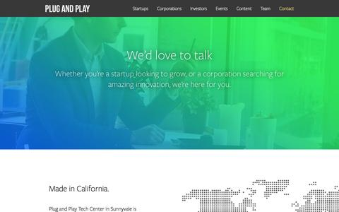 Screenshot of Contact Page plugandplaytechcenter.com - Contact � Plug and Play - captured Dec. 10, 2015