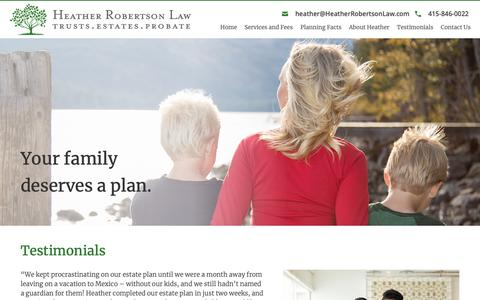 Screenshot of Testimonials Page heatherrobertsonlaw.com - Estate Lawyer San Francisco | San Francisco Estate Planning Lawyer | Heather Robertson - captured Nov. 4, 2018