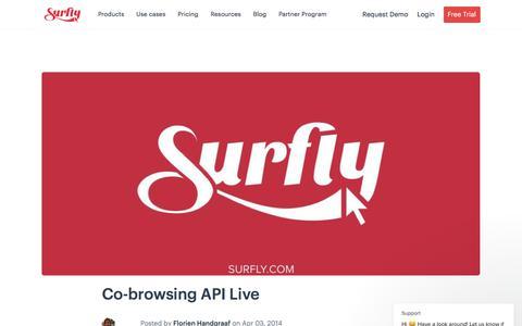 Screenshot of Developers Page surfly.com - Co-browsing API Live - captured Jan. 3, 2020
