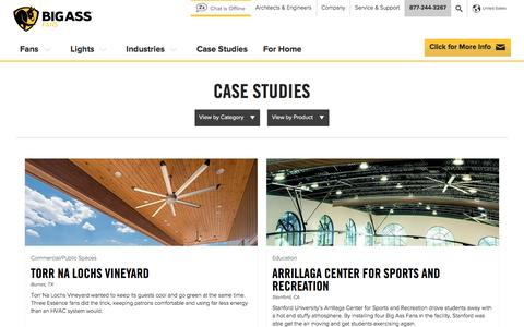 Screenshot of Case Studies Page bigassfans.com - Big Ass Fans Case Studies | Big Ass Fans - captured March 8, 2017