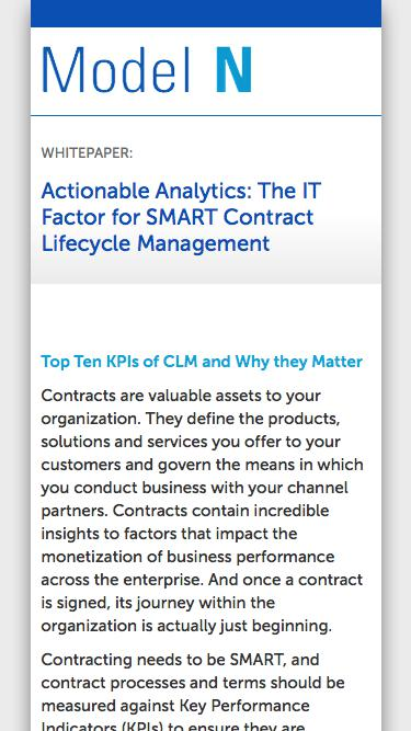 WHITEPAPER:  Actionable Analytics: The IT Factor for SMART Contract Lifecycle Management