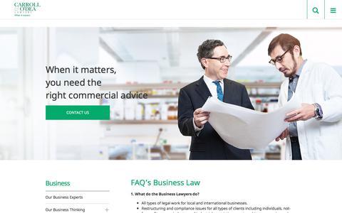 Screenshot of FAQ Page codea.com.au - FAQ's Business Law - Carroll & O'Dea Lawyers - captured July 16, 2017
