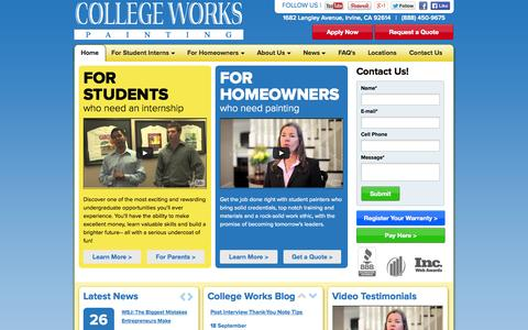 Screenshot of Home Page collegeworks.com - College Works Painting Internship Program For College Students | CollegeWorks.com - captured Oct. 3, 2014