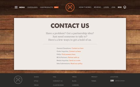Screenshot of Contact Page dollarshaveclub.com - Dollar Shave Club - captured June 16, 2015