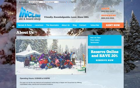 Screenshot of About Page inclineski.com - About Us | Incline Ski & Board Shop Aspen & Snowmass - captured Jan. 3, 2018