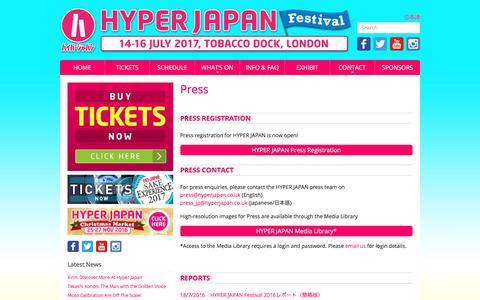 Screenshot of Press Page hyperjapan.co.uk - Press | HYPER JAPAN : The UK's biggest J-culture event. - captured June 26, 2017