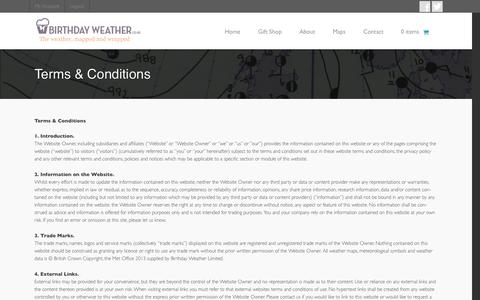 Screenshot of Terms Page birthdayweather.co.uk - Terms & Conditions - Birthday Weather - Meteorological Map Gifts from the British Met Office Archive - captured Oct. 5, 2014