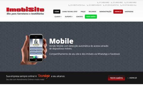 Screenshot of Home Page imobisite.com.br - ImobiSite - Site para Imobiliária | Site para Corretor de Imóveis - captured April 22, 2016