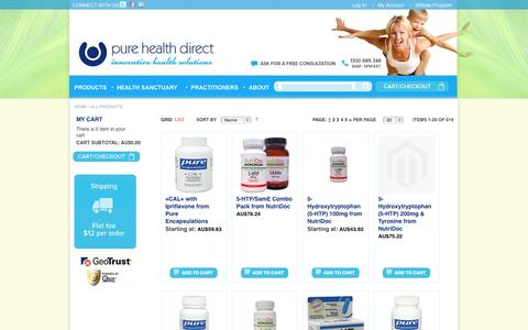 Screenshot of Products Page purehdg.com - All Products - captured Oct. 3, 2014