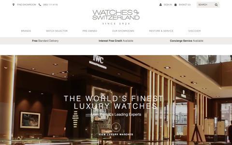 Screenshot of Home Page watches-of-switzerland.co.uk - Luxury Watches, Swiss Watches - Watches of Switzerland - captured Oct. 16, 2016