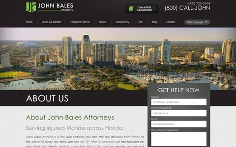 Screenshot of About Page johnbales.com - About Us | Tampa & Orlando Car Accident Lawyers | Personal Injuary | John Bales Attorneys - captured Oct. 6, 2014