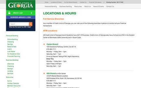 Screenshot of Locations Page cuofga.org - Locations & Hours - Credit Union of Georgia - captured Nov. 12, 2015