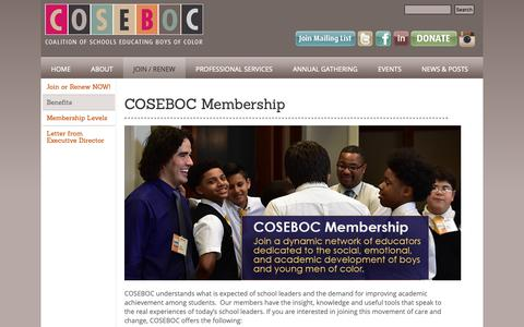 Screenshot of Signup Page coseboc.org - COSEBOC Membership | Coalition of Schools Educating Boys of Color - captured Dec. 15, 2018