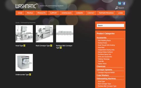 Screenshot of Products Page washmaticindia.com - Dishwashing Machine for Restaurants Dishwasher Machines India - captured Sept. 24, 2016