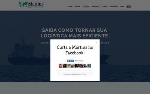 Screenshot of Home Page martinsloginternacional.com - Despachante Aduaneiro | Brasil | Www.martinsinternacional.com - captured March 1, 2018