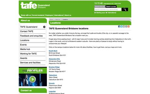 Screenshot of Locations Page tafebrisbane.edu.au - Locations - TAFE Queensland Brisbane - captured Sept. 23, 2014