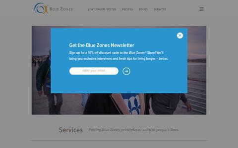 Screenshot of Services Page bluezones.com - Services - Blue Zones - captured June 1, 2017