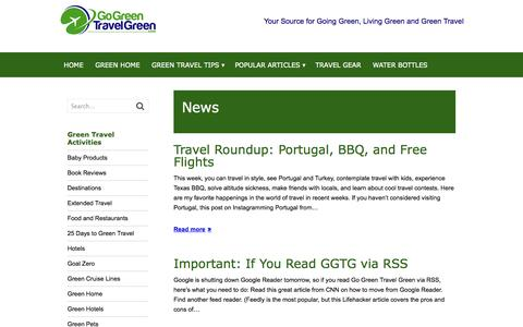 Screenshot of Press Page gogreentravelgreen.com - News Archives - captured Sept. 22, 2014