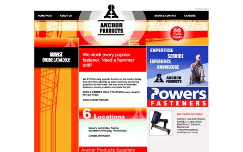 Screenshot of Home Page anchorproducts.ca - Anchor Construction Industrial Products - captured Oct. 8, 2017