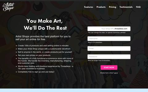 Screenshot of Signup Page threadless.com - How to Sell Your Art Online With Artist Shops - captured Oct. 14, 2017