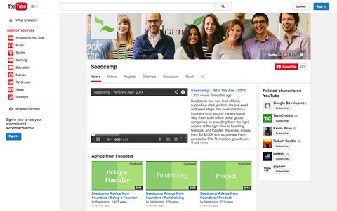 Screenshot of YouTube Page youtube.com - Seedcamp  - YouTube - captured Oct. 27, 2014