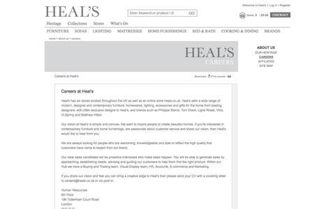 Screenshot of Jobs Page heals.co.uk - Careers |     Heal's - captured Sept. 22, 2014