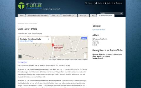 Screenshot of Contact Page tiles.ie - Italian Tile and Stone Studio Get visit Monday to Saturday - captured Oct. 6, 2014