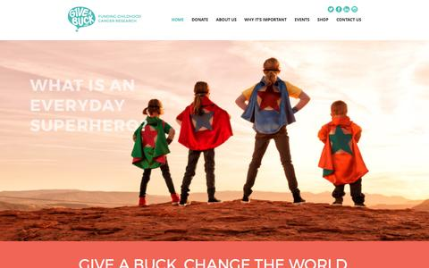 Screenshot of Home Page g1veabuckfund.org - Cure Childhood Cancer   G1ve a Buck Fund - captured May 10, 2017