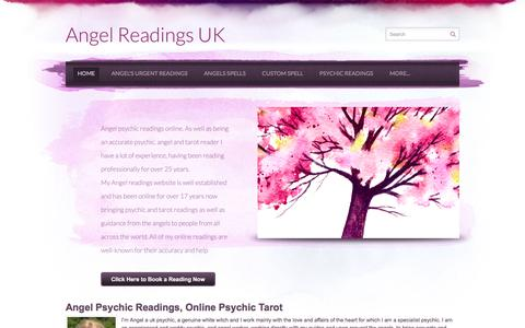Screenshot of Home Page angel-readings.co.uk - Angel Readings UK - Angel love specialist, psychic readings, top UK genuine psychic tarot and angel specialist - captured June 13, 2016