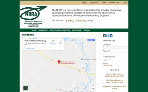 Screenshot of Maps & Directions Page nrra.net - Directions | Northeast Resource Recovery Association - captured Feb. 21, 2018
