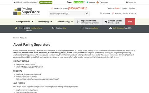 Screenshot of About Page pavingsuperstore.co.uk - About Us - captured July 16, 2018