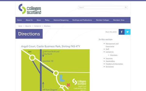 Screenshot of Maps & Directions Page collegesscotland.ac.uk - Directions | Contact Us | About Us | Colleges Scotland - captured Sept. 28, 2018
