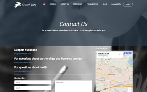 Screenshot of Contact Page quickkeyapp.com - Contact Us | Quick Key - captured Sept. 27, 2015