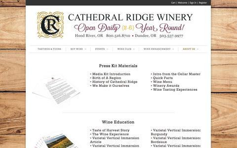 Screenshot of Press Page cathedralridgewinery.com - Press | Cathedral Ridge Winery - captured Sept. 29, 2014