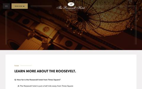 Screenshot of FAQ Page theroosevelthotel.com - Read Our Frequently Asked Questions | The Roosevelt Hotel - captured Nov. 7, 2018