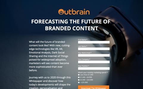Screenshot of Landing Page outbrain.com - Forecasting The Future Of Branded Content - captured Oct. 25, 2017