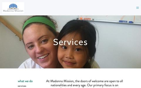 Screenshot of Services Page madonnamission.org - Services — Madonna Mission - captured May 25, 2017