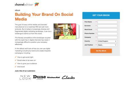 Screenshot of Landing Page channeladvisor.com - Building Your Brand On Social Media - captured April 6, 2017