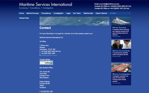 Screenshot of Contact Page maritime.uk.com - For expert marine surveys and consultancy, contact Maritime Services International Ltd. - captured Oct. 4, 2014